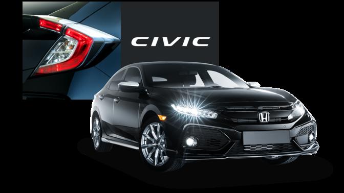 Främre trekvartsvy mot Honda Silver Line med Honda Civic-logotypen