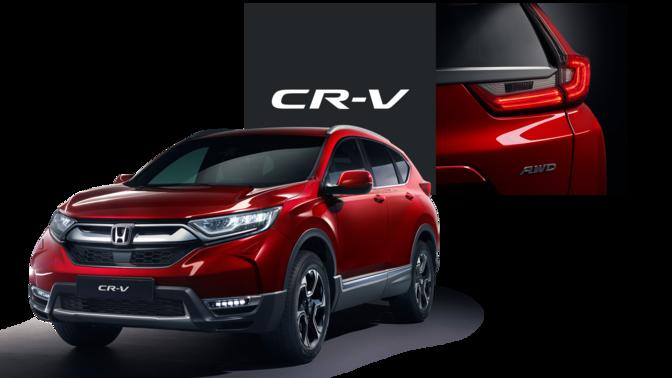 Främre trekvartsvy vänd mot Honda CR-V med närbild på bakljus och CR-V-logotyp.
