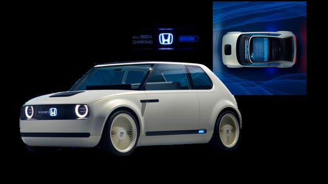 Bild framifrån på tre fjärdedelar Honda Clarity Fuel Cell med Hondalogga.