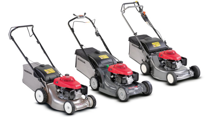Left: right facing Miimo. Middle: front-threequarter, right facing lawnmower Right: front-threequarter, right facing ride-on mower.