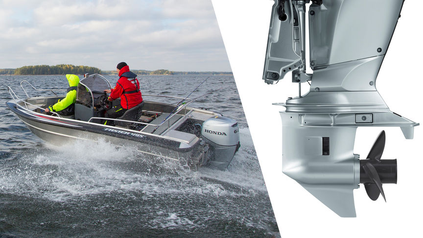 Left: Boat using Honda engine, being used by models, coastal location. Right: Close up of gear case.